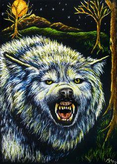 Original Halloween ACEO Scratchboard Art WOLF Werewolf Dog Moon Night - MoniqueM #Realism by Monique Morin Matson