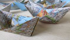 Paper Boat Origami from a Vintage National Geographic Map (Europe) by shredlock, $8.50