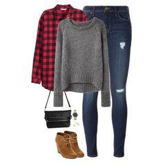 Buffalo checks, gray sweater & wedge boots