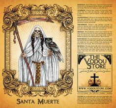Candle Label - Santa Muerte (General petition) : The Vodou Store Orisha, Magick, Witchcraft, Wiccan, Santa Muerte Prayer, Clare Of Assisi, Voodoo Hoodoo, St Clare's, Candle Labels