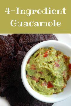 4-ingredient guacamole dip recipe. Quick, easy recipe!