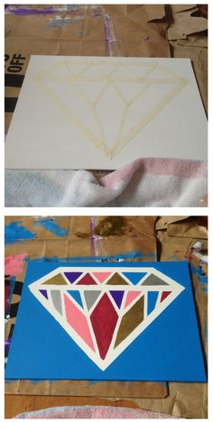 Rather do this with glitter all one color for the diamond & another for…
