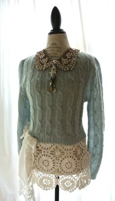 Upcycled victorias secret sweater cottage by TrueRebelClothing, $74.00
