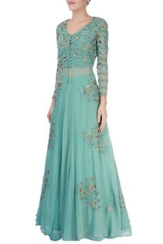 Shop Astha Narang Green thread work lehenga , Exclusive Indian Designer Latest Collections Available at Aza Fashions Indian Fashion Dresses, Frock Fashion, Indian Gowns Dresses, Indian Bridal Outfits, Dress Indian Style, Indian Designer Outfits, Designer Party Wear Dresses, Kurti Designs Party Wear, Fancy Dress Design