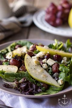 Roasted Grape Salad with Pears, Blue Cheese and Maple Dressing - thebeachhousekitchen.com