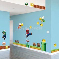Na predaj New Super Mario Bros PVC Odnímateľná Wall samolepka Decal Boy Detská izba Dekorácie domácnosti na odoslanie Detská izba zadarmo