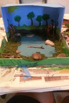 Shoebox pond diorama