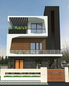 Discover the best Latest House Design at The Architecture Design. Visit for more images and ideas about the latest house design and architecture. Architecture Design, Architecture Art Nouveau, Plans Architecture, Facade Design, Residential Architecture, Exterior Wall Design, Interior Design, Duplex House Design, House Front Design