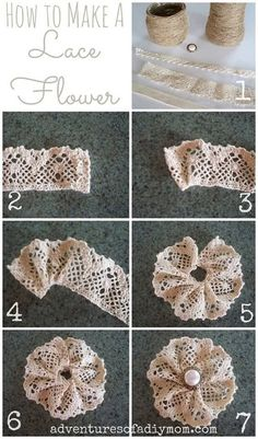 How to Make a Lace Flower Adventures of a DIY Mom How to Make a Lace Flower The post How to Make a Lace Flower appeared first on Basteln ideen. blumen How to Make a Lace Flower - Basteln ideen Burlap Crafts, Fabric Crafts, Sewing Crafts, Diy And Crafts, Sewing Projects, Craft Projects, Decor Crafts, Craft Ideas, Cloth Flowers
