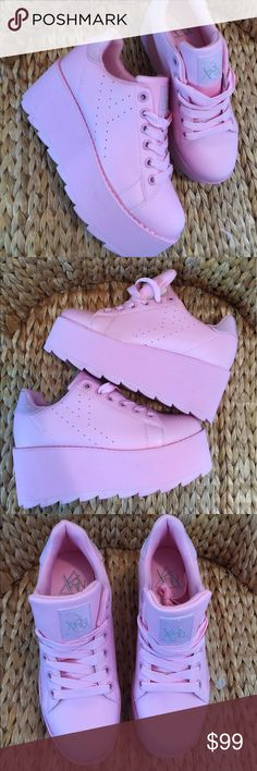 YRU Pink LaLa Platform Sneakers Trainers 8M & 10M 🎀New YRU Platform Trainers in size 8M & 10M🎀Super cute for spring and summer! These go with just about anything for a sexy pop of color!!! Lovin it!!!!🎀 tag Sugarbaby UNIF Sanrio Hello Kitty Dills Kill YRU Shoes Platforms