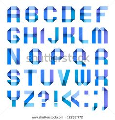 Varicolored letters from paper ribbon-blue. Roman alphabet (A, B, C, D, E, F, G, H, I, J, K, L, M, N, O, P, Q, R, S, T, U, V, W, X, Y, Z).