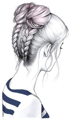 Trenzas + rodetes – You are in the right place about proposal dress Here we offer you the most beautiful pictures about the proposal quieres ser mi novia you are looking for. When you examine the Trenzas + rodetes – part of the picture[. Girl Drawing Sketches, Pencil Art Drawings, Sketch Art, Easy Drawings, Tumblr Girl Drawing, Girl Drawings, Drawings Of Hair, Sketches Of Girls, Cute Drawings Of Girls