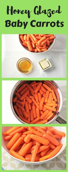 Honey Glazed Baby Carrots combine carrots, butter, and honey to make a delicious and healthy 3 ingredients vegetarian side dish the kids will love. Glazed Baby Carrots, Carrots Healthy, Vegetarian Side Dishes, Healthy Side Dishes, Side Dish Recipes, Healthy Sides, Great Recipes, Healthy Recipes, Rezepte