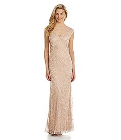 JS Collections Beaded Mesh Gown #Dillards Mismatched Bridesmaid Dresses, Wedding Bridesmaid Dresses, Prom Dresses, Formal Dresses, Reception Dresses, Lit Outfits, Groom Dress, Glamour, Dillards