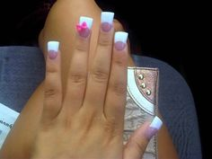 #duck feet #wide nails #flared nails #pink and white #french #3D bow