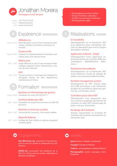 This is a design attempt of my future resume. The final aim of this resume is to find a job in the development & design field of mobile applications. Graphic Design Cv, Cv Design, Resume Design, Brochure Design, Dr. Oz, Resume Layout, Resume Cv, Resume Ideas, Cv Ideas