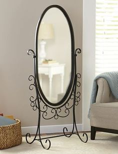 Oval Standing Scroll Mirror