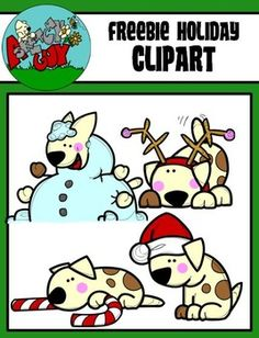 FREEBIE Puppie - Dogs Christmas / Winter Holiday Clipart - Graphics FREEBIE  Included are 4 Color, 4 Grayscale, and 4 Black Lined, PNG/Transparent Clipart.