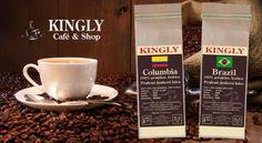 Zažite chuť a vôňu čerstvo praženej kávy z Columbie alebo z Brazílie. Cafe Shop, Tableware, Coffee Shops, Coffee Store, Dinnerware, Tablewares, Dishes, Place Settings