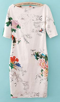 White Dress, featuring scoop neck and sleeve styling, floral print design, slim fit, soft-touch fabric.