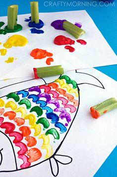 celery rainbow fish craft