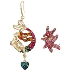 Betsey Johnson Mermaid Drop Starfish Ear Crawler Earrings Set (Multi)... (140 BRL) ❤ liked on Polyvore featuring jewelry, earrings, dangle charms, betsey johnson charms, earring jewelry, starfish earrings and earring charms
