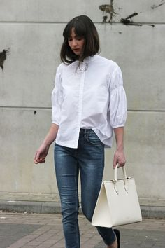 Modedamour; hm shirt - cos jeans - gucci loafer - strathberry tote