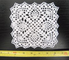 dollhouse miniature small square cotton crochet doily, table cover, IGMA artisan | eBay