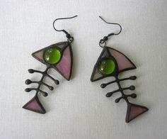 Stained glass earrings Fish bone Tiiffany jewelry Glass art Gift for her Hanmade dangle earrings by MyVitraz on Etsy
