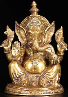 """View the Brass Abhaya Ganesh Statue 11"""""""
