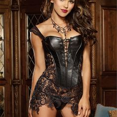 Cheap lace corset, Buy Quality sexy corsets and bustiers directly from China corsets and bustiers Suppliers: Plus size Steampunk Corset Overbust Women Faux Leather Burlesque lace corset Dress Corselet Sexy Corsets and Bustiers Corset En Cuir, Corset Noir, Corset Sexy, Bustier Lingerie, Sexy Lingerie, Beautiful Lingerie, Online Lingerie, Lingerie Underwear, Sexy Bra