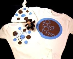 BIG LITTLE BROTHER Sister Long Sleeve Sibling Set, Baby Onesie, Hat, and Toddler Tee, Retro Mod Circles, Free Gift Wrap. $37.99, via Etsy.
