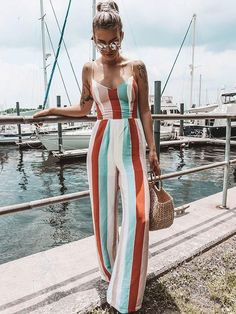 Bohemia Striped Spagetti-neck Loose Long Jumpsuits Bohemia Striped Spagetti-neck Loose Long Jumpsuits STRIPED XL - Jumpsuits and Romper Rompers Women, Jumpsuits For Women, Fashion Jumpsuits, Summer Outfits, Casual Outfits, Fashion Outfits, Autumn Outfits, Style Fashion, Hippie Fashion