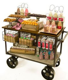 Cookies & milk cart catering ideas in 2019 уличная еда, киоск, бар. Bakery Display, Catering Display, Catering Buffet, Snack Station, Snack Bar, Abigail Kirsch, Coffee Carts, Food Stands, Food Stations