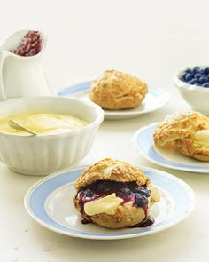 Cream Puffs with Lemon Mousse and Blueberry Sauce - marthastewart.com