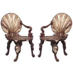 Pair of Important 19th c. Venetian Grotto Armchairs at 1stdibs