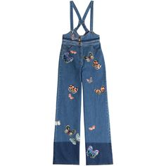 Valentino Denim Overalls (2 798 540 LBP) ❤ liked on Polyvore featuring jumpsuits, blue, multicolored, overalls jumpsuit, blue jumpsuit, denim jumpsuit, denim bib overalls and colorful jumpsuit