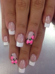 Nail art Rose Nails, Flower Nails, French Manicure Nails, Manicure And Pedicure, Elegant Nails, Stylish Nails, Fun Nails, Pretty Nails, Nagel Gel