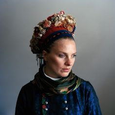 "Trine Søndergaard's photo series, ""Strude,"" This appears to be a Fano bridal crown. Trine traveled back to Fanø, Denmark and photographed a bunch of ladies wearing their ancestors threads. Danish Culture, Contemporary Photographers, Bridal Crown, Photo Series, Folk Costume, Headgear, Traditional Dresses, Women Wear, Beautiful Women"
