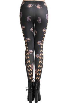 #Romwe Fierce Dog Head Print Black Leggings