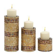 Scintillating Set of Three Mosaic Candle Holder