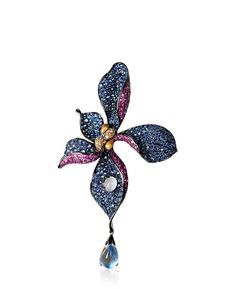 A Moon Stone, Coloured Gemstone 'Orchid' Brooch, by Zhang Yiyun Jewelry Design Earrings, Diamond Jewelry, Gemstone Jewelry, Jewelery, Silver Jewelry, High Jewelry, Unique Jewelry, Jewelry Design Drawing, Antique Brooches