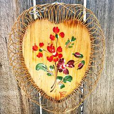 Vintage Santos Brazil Hand Painted Decorative Wood Basket