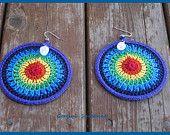 SALE - 5 Dollars Off - Rainbow Chakra Crochet Earrings