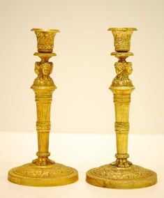 e4f5e51a156 Pair of Gilt-Bronze Empire-style Candlesticks Empire Style