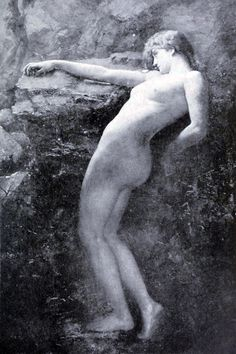 "Henrietta Rae (1859-1928), ""Eurydice sinking back to Hades"" This is an original and daring attempt to illustrate the myth of Orpheus and Eurydice. The moment chosen for illustration is that when, as the result of Orpheus's backward glance, Eurydice..."
