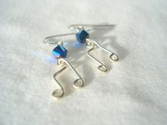 Music Note Earrings Wire Wrapped Eighth Silver Swarovski