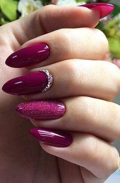 Нетипичный Маникюр Burgundy Nails, Red Nails, Matte Nails, Magenta Nails, Shiny Nails, Purple Glitter Nails, Maroon Nails, Glitter Paint, Stiletto Nail Art