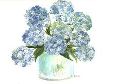 10x8 Original Hydrangea Watercolor Print, Hydrangea Series 1, Original Watercolor Archival Print. Blue Hydrangea Watercolor! This is a archival print from my original watercolor of my Hydrangea study. Blue Hydrangeas in a vase watercolor. Order print in a 8x10 image on 81/2 x 11 archival of fine art rag watercolor paper and signed. Can be framed to enlarge to 9x12 or 11x14 depending on frame.This paper gives the print the look of a natural watercolor. Series name on back with artist...