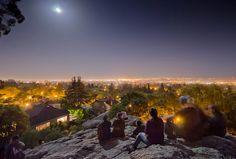 Berkeley. Indian rock. crazy light effects during the Super Moon